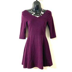 Express Long Sleeve Skater Dress Plum